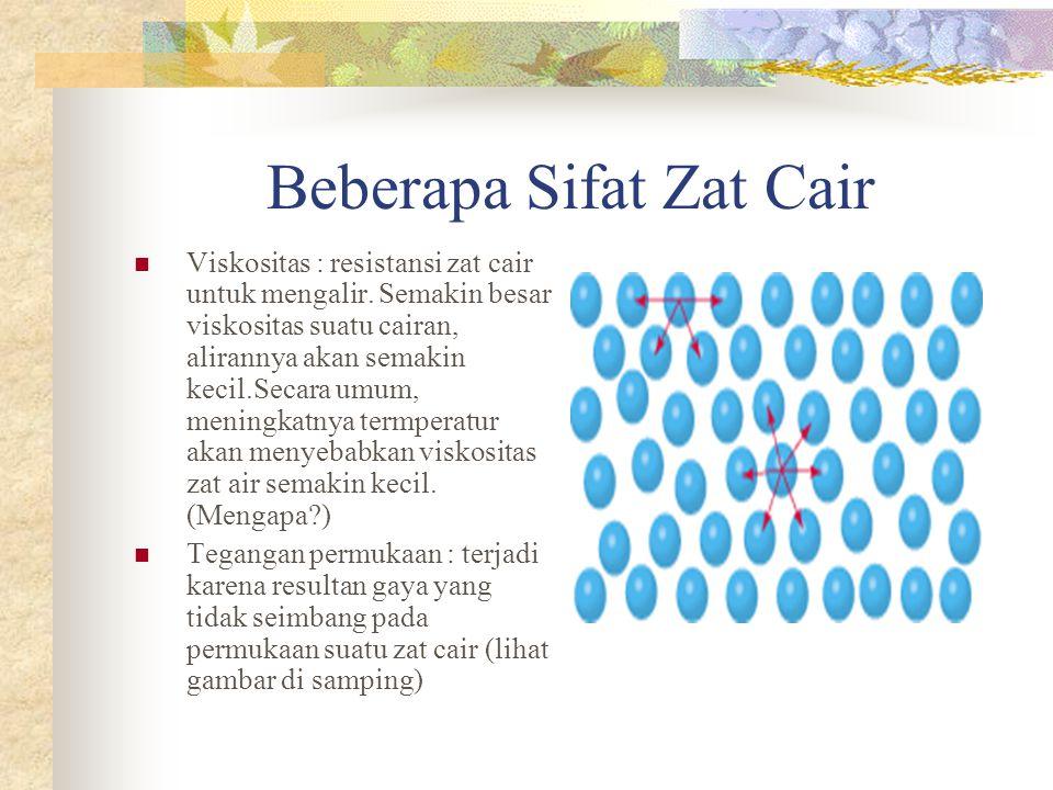 Beberapa Sifat Zat Cair Viskositas : resistansi zat cair untuk mengalir.
