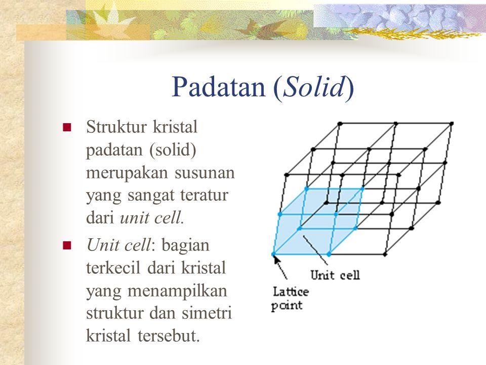 Padatan (Solid) Struktur kristal padatan (solid) merupakan susunan yang sangat teratur dari unit cell.