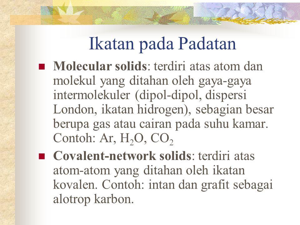 Ikatan pada Padatan Molecular solids: terdiri atas atom dan molekul yang ditahan oleh gaya-gaya intermolekuler (dipol-dipol, dispersi London, ikatan hidrogen), sebagian besar berupa gas atau cairan pada suhu kamar.