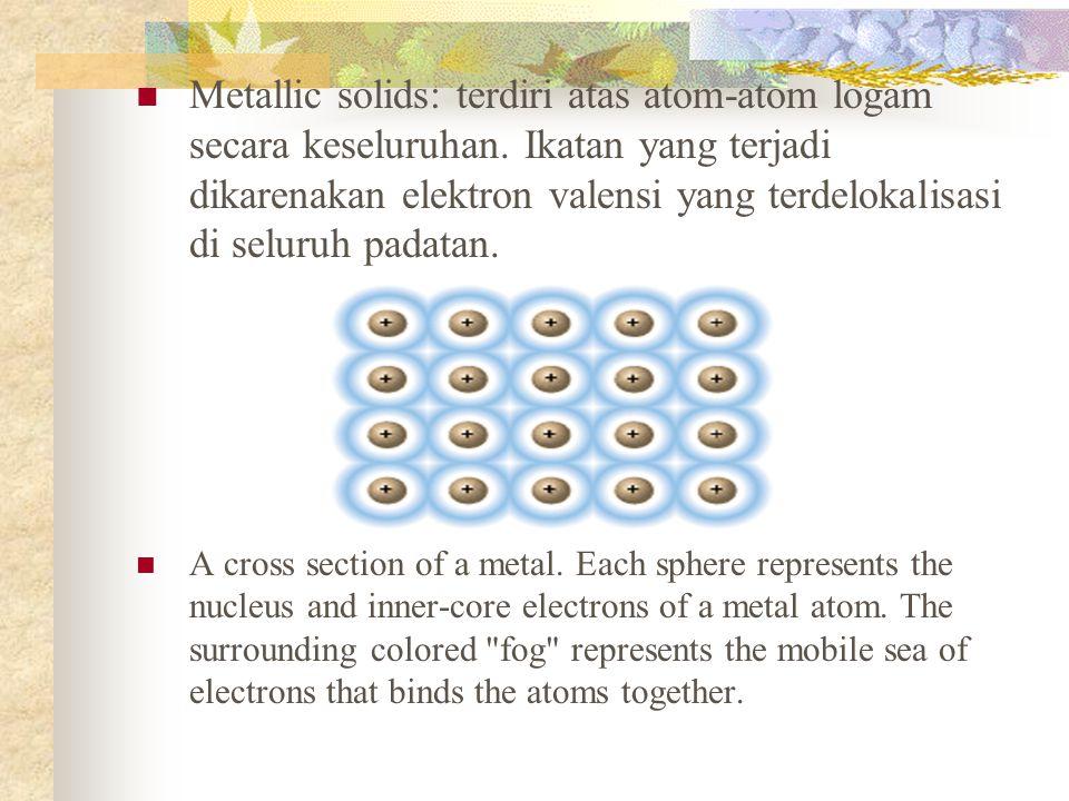 Metallic solids: terdiri atas atom-atom logam secara keseluruhan.
