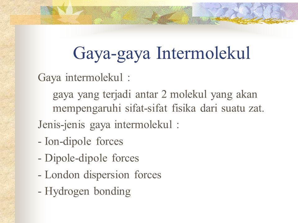 Gaya-gaya Intermolekul Gaya intermolekul : gaya yang terjadi antar 2 molekul yang akan mempengaruhi sifat-sifat fisika dari suatu zat.