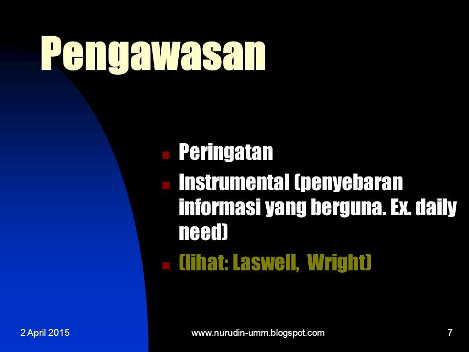 2 April 20157 Pengawasan Peringatan Instrumental (penyebaran informasi yang berguna.