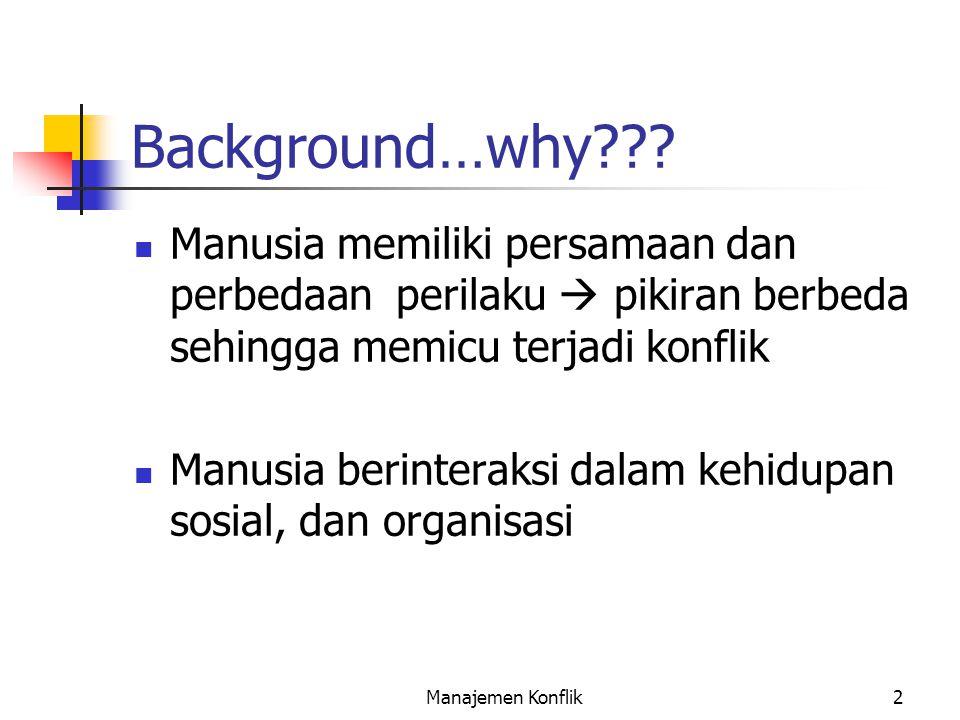 Manajemen Konflik2 Background…why??? Manusia memiliki persamaan dan perbedaan perilaku  pikiran berbeda sehingga memicu terjadi konflik Manusia berin