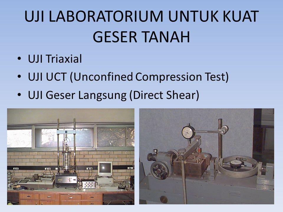 UJI LABORATORIUM UNTUK KUAT GESER TANAH UJI Triaxial UJI UCT (Unconfined Compression Test) UJI Geser Langsung (Direct Shear)