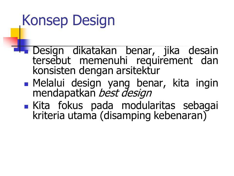 Konsep Design Design dikatakan benar, jika desain tersebut memenuhi requirement dan konsisten dengan arsitektur Melalui design yang benar, kita ingin
