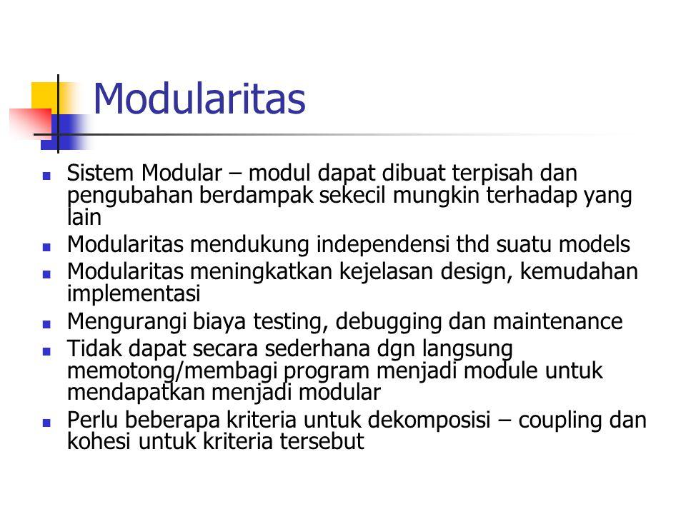 Modularitas Sistem Modular – modul dapat dibuat terpisah dan pengubahan berdampak sekecil mungkin terhadap yang lain Modularitas mendukung independens