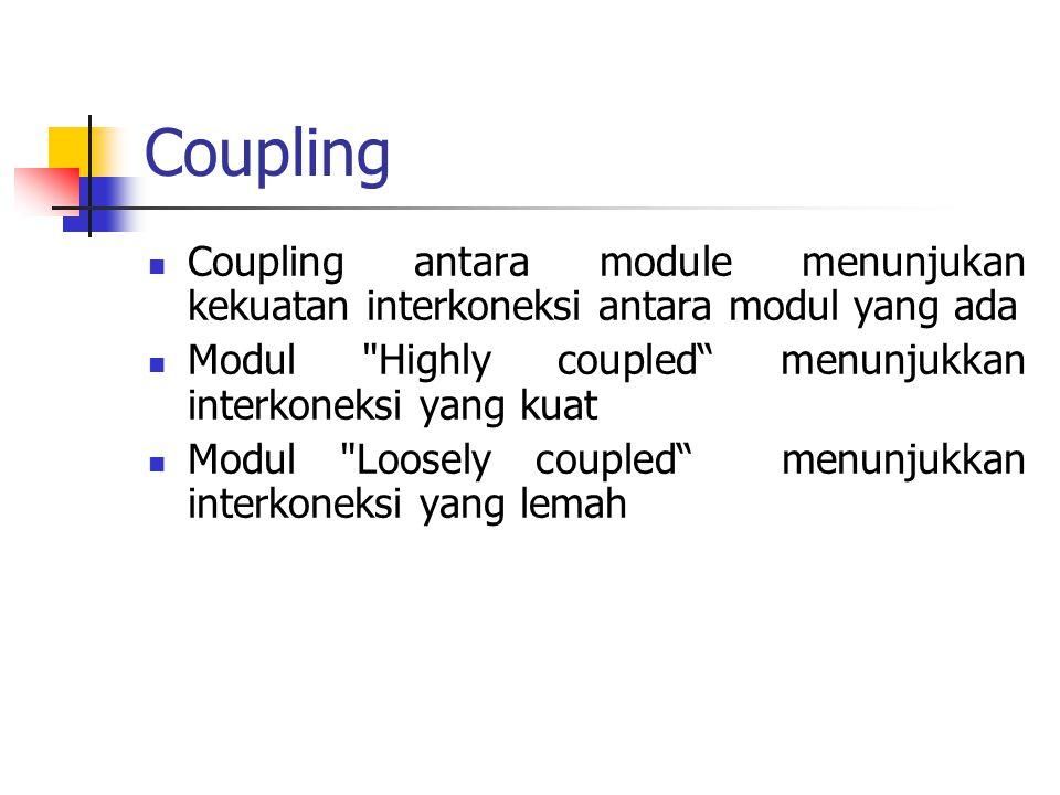 Coupling Coupling antara module menunjukan kekuatan interkoneksi antara modul yang ada Modul
