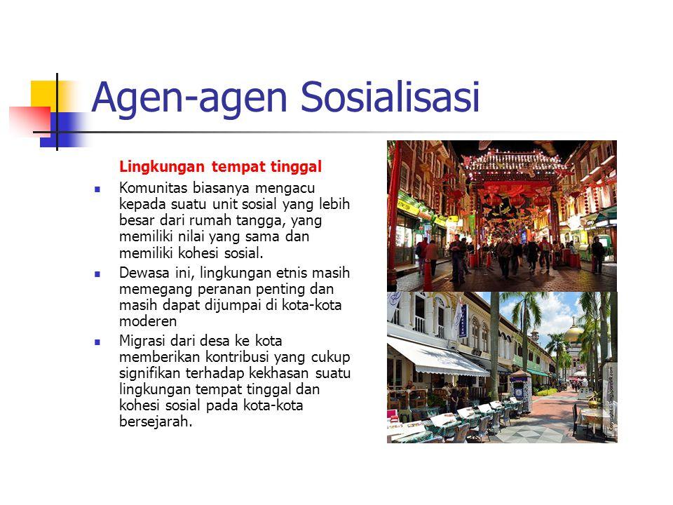Agen-agen Sosialisasi Lingkungan tempat tinggal Komunitas biasanya mengacu kepada suatu unit sosial yang lebih besar dari rumah tangga, yang memiliki