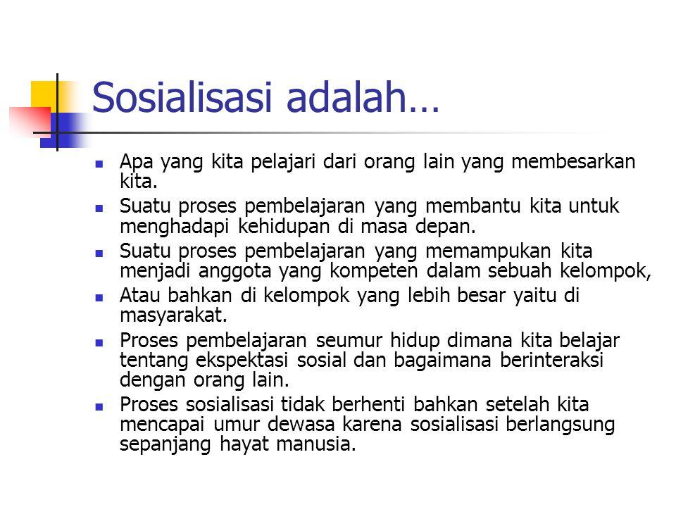 Sosialisasi adalah… Apa yang kita pelajari dari orang lain yang membesarkan kita. Suatu proses pembelajaran yang membantu kita untuk menghadapi kehidu