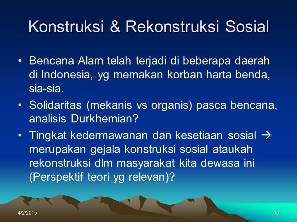 Konstruksi & Rekonstruksi Sosial Bencana Alam telah terjadi di beberapa daerah di Indonesia, yg memakan korban harta benda, sia-sia. Solidaritas (meka