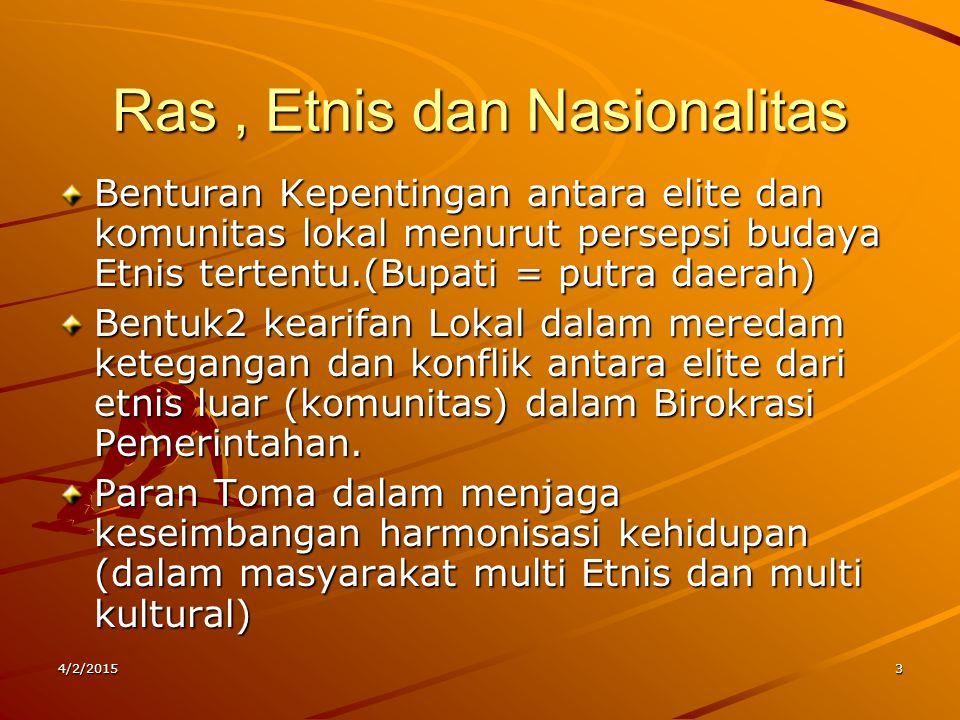 Ras, Etnis dan Nasionalitas Benturan Kepentingan antara elite dan komunitas lokal menurut persepsi budaya Etnis tertentu.(Bupati = putra daerah) Bentu