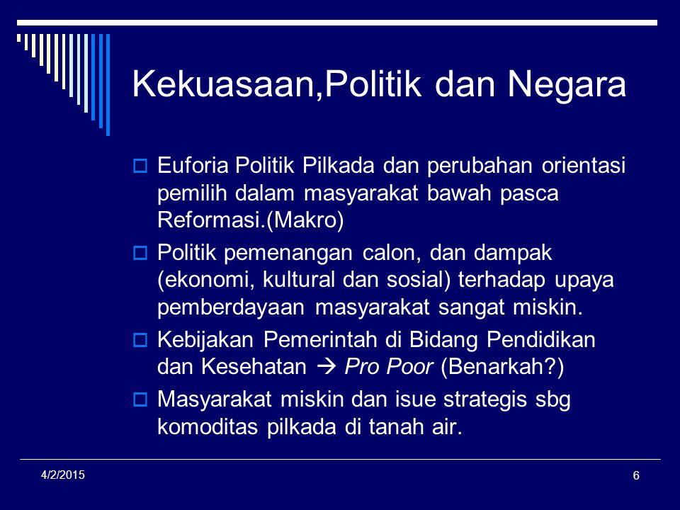 Kekuasaan,Politik dan Negara  Euforia Politik Pilkada dan perubahan orientasi pemilih dalam masyarakat bawah pasca Reformasi.(Makro)  Politik pemena