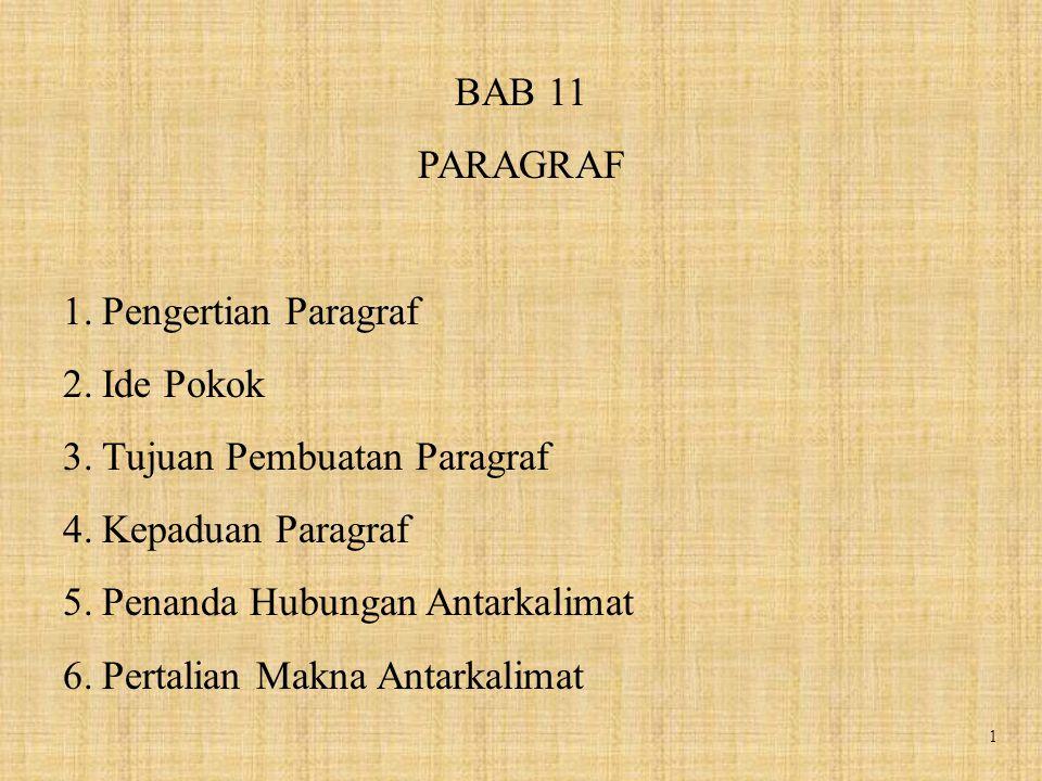 1 BAB 11 PARAGRAF 1.Pengertian Paragraf 2.Ide Pokok 3.Tujuan Pembuatan Paragraf 4.Kepaduan Paragraf 5.Penanda Hubungan Antarkalimat 6.Pertalian Makna