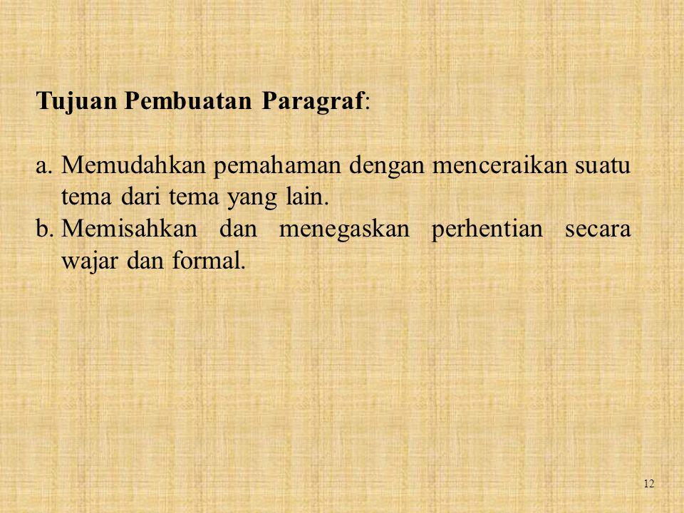 12 Tujuan Pembuatan Paragraf: a.Memudahkan pemahaman dengan menceraikan suatu tema dari tema yang lain. b.Memisahkan dan menegaskan perhentian secara