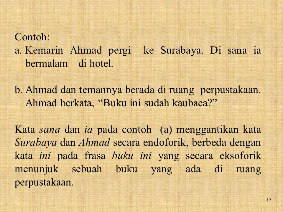 """19 Contoh: a. Kemarin Ahmad pergi ke Surabaya. Di sana ia bermalam di hotel. b. Ahmad dan temannya berada di ruang perpustakaan. Ahmad berkata, """"Buku"""