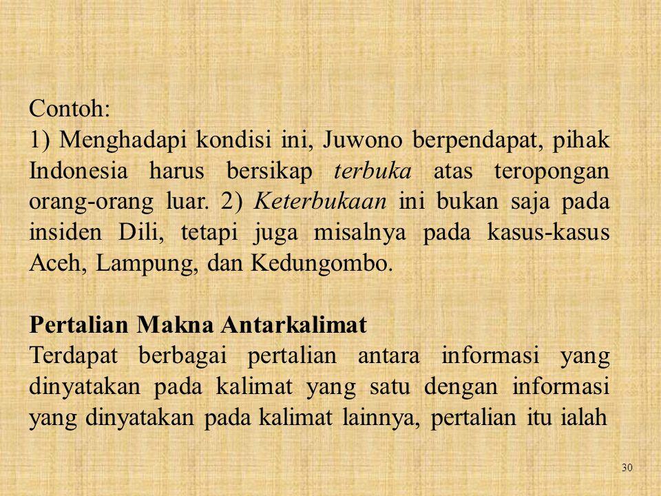 30 Contoh: 1) Menghadapi kondisi ini, Juwono berpendapat, pihak Indonesia harus bersikap terbuka atas teropongan orang-orang luar. 2) Keterbukaan ini