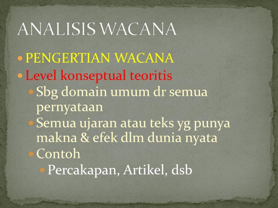 PENGERTIAN WACANA Level konseptual teoritis Sbg domain umum dr semua pernyataan Semua ujaran atau teks yg punya makna & efek dlm dunia nyata Contoh Percakapan, Artikel, dsb