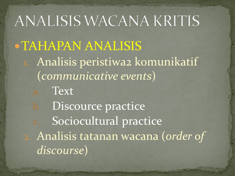TAHAPAN ANALISIS 1.Analisis peristiwa2 komunikatif (communicative events) a.