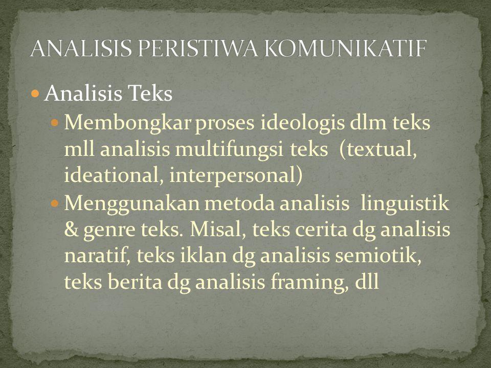 Analisis Teks Membongkar proses ideologis dlm teks mll analisis multifungsi teks (textual, ideational, interpersonal) Menggunakan metoda analisis linguistik & genre teks.