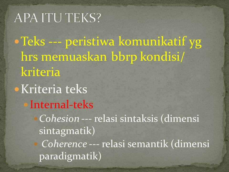 Teks --- peristiwa komunikatif yg hrs memuaskan bbrp kondisi/ kriteria Kriteria teks Internal-teks Cohesion --- relasi sintaksis (dimensi sintagmatik) Coherence --- relasi semantik (dimensi paradigmatik)