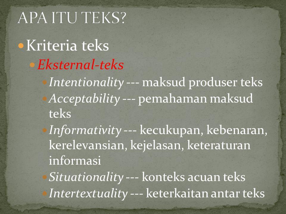 Kriteria teks Eksternal-teks Intentionality --- maksud produser teks Acceptability --- pemahaman maksud teks Informativity --- kecukupan, kebenaran, kerelevansian, kejelasan, keteraturan informasi Situationality --- konteks acuan teks Intertextuality --- keterkaitan antar teks