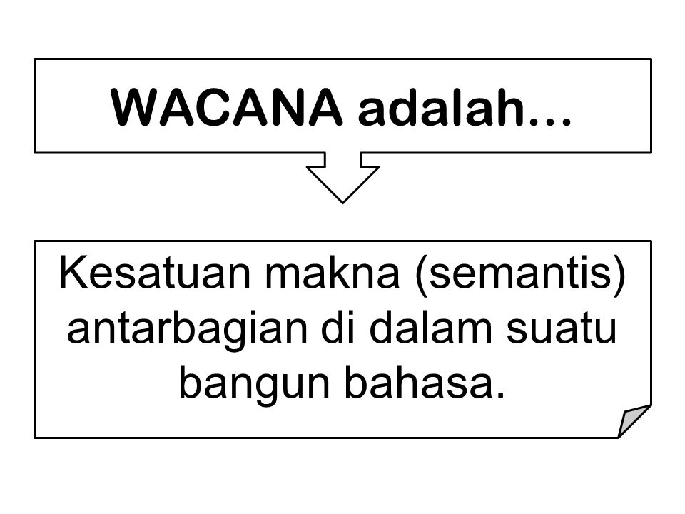 WACANA adalah... Kesatuan makna (semantis) antarbagian di dalam suatu bangun bahasa.