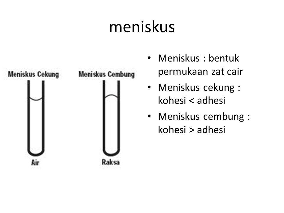 meniskus Meniskus : bentuk permukaan zat cair Meniskus cekung : kohesi < adhesi Meniskus cembung : kohesi > adhesi