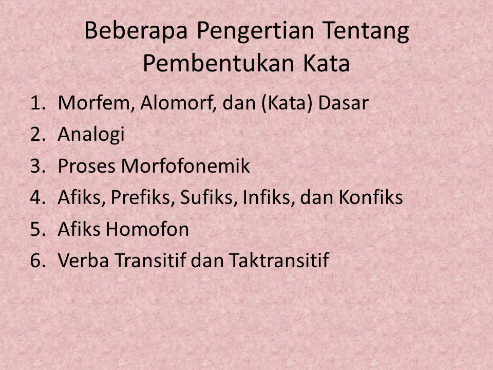 Beberapa Pengertian Tentang Pembentukan Kata 1.Morfem, Alomorf, dan (Kata) Dasar 2.Analogi 3.Proses Morfofonemik 4.Afiks, Prefiks, Sufiks, Infiks, dan