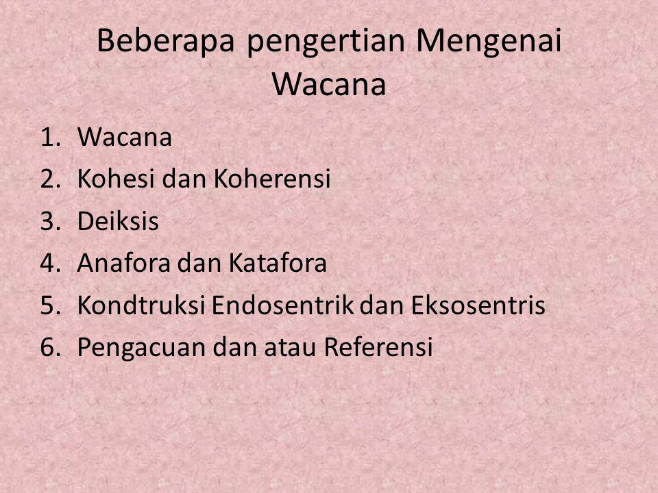 Beberapa pengertian Mengenai Wacana 1.Wacana 2.Kohesi dan Koherensi 3.Deiksis 4.Anafora dan Katafora 5.Kondtruksi Endosentrik dan Eksosentris 6.Pengac