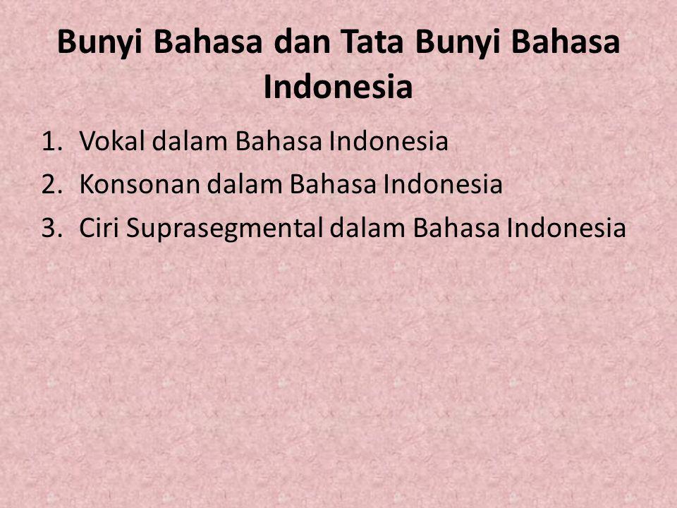 Bunyi Bahasa dan Tata Bunyi Bahasa Indonesia 1.Vokal dalam Bahasa Indonesia 2.Konsonan dalam Bahasa Indonesia 3.Ciri Suprasegmental dalam Bahasa Indon