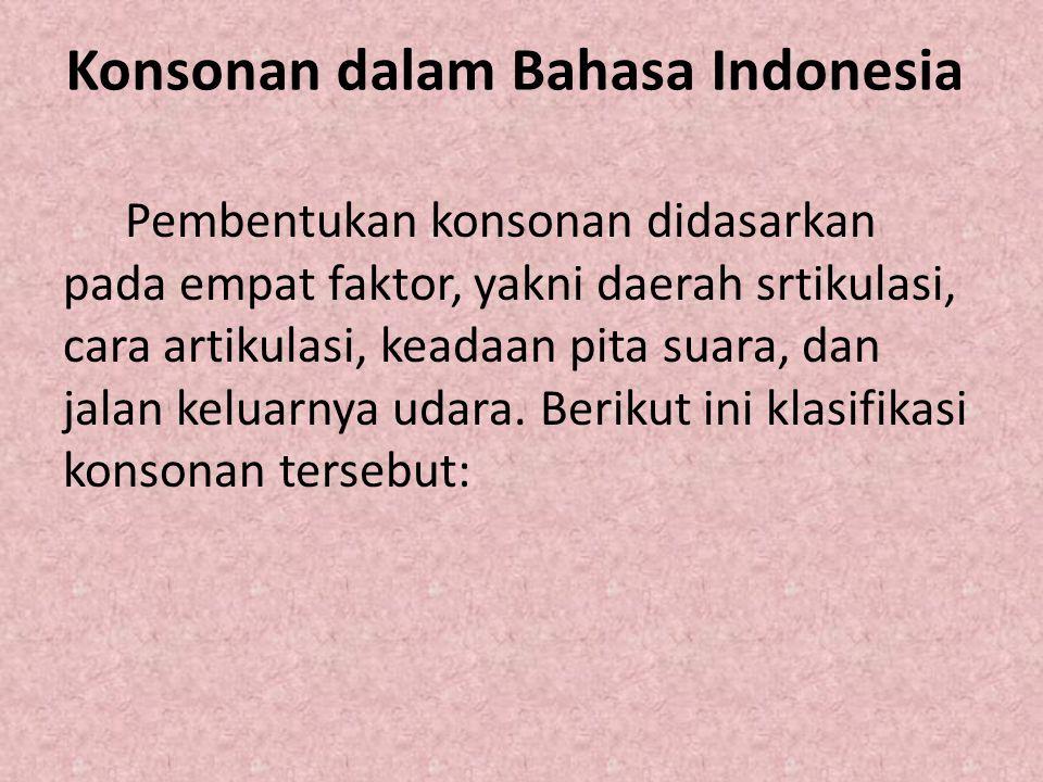 Konsonan dalam Bahasa Indonesia Pembentukan konsonan didasarkan pada empat faktor, yakni daerah srtikulasi, cara artikulasi, keadaan pita suara, dan j