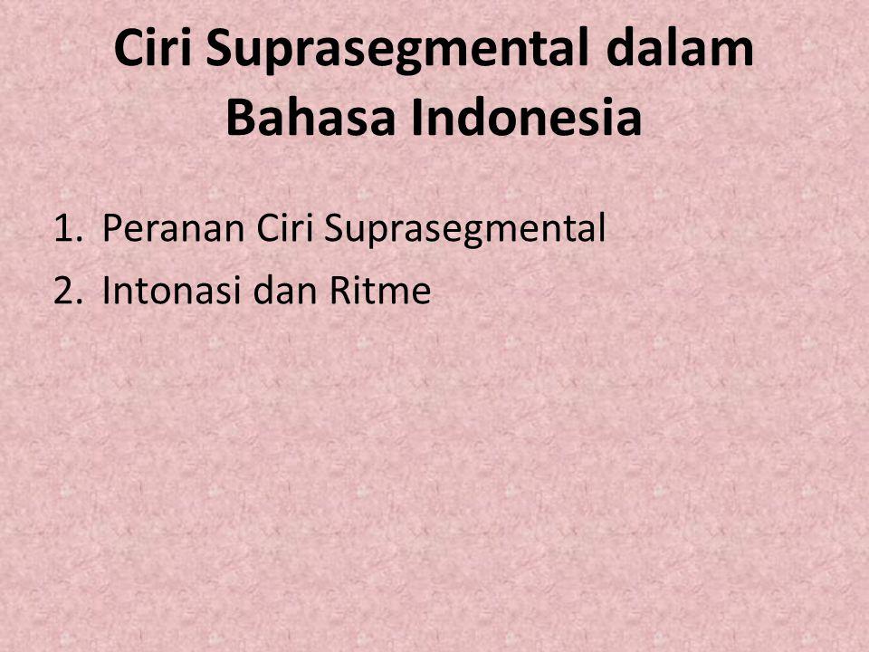 Ciri Suprasegmental dalam Bahasa Indonesia 1.Peranan Ciri Suprasegmental 2.Intonasi dan Ritme