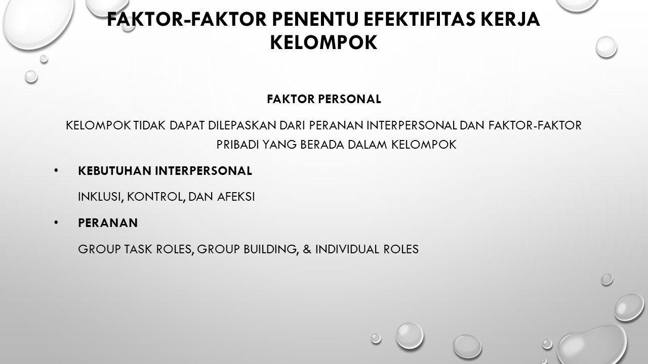 FAKTOR-FAKTOR PENENTU EFEKTIFITAS KERJA KELOMPOK FAKTOR PERSONAL KELOMPOK TIDAK DAPAT DILEPASKAN DARI PERANAN INTERPERSONAL DAN FAKTOR-FAKTOR PRIBADI