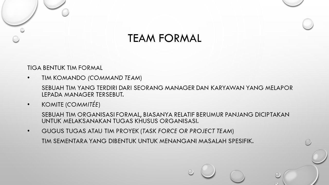 TEAM FORMAL TIGA BENTUK TIM FORMAL TIM KOMANDO (COMMAND TEAM) SEBUAH TIM YANG TERDIRI DARI SEORANG MANAGER DAN KARYAWAN YANG MELAPOR LEPADA MANAGER TE