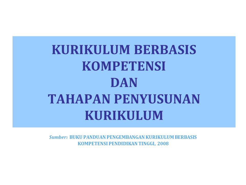 KURIKULUM BERBASIS KOMPETENSI DAN TAHAPAN PENYUSUNAN KURIKULUM Sumber: BUKU PANDUAN PENGEMBANGAN KURIKULUM BERBASIS KOMPETENSI PENDIDIKAN TINGGI, 2008