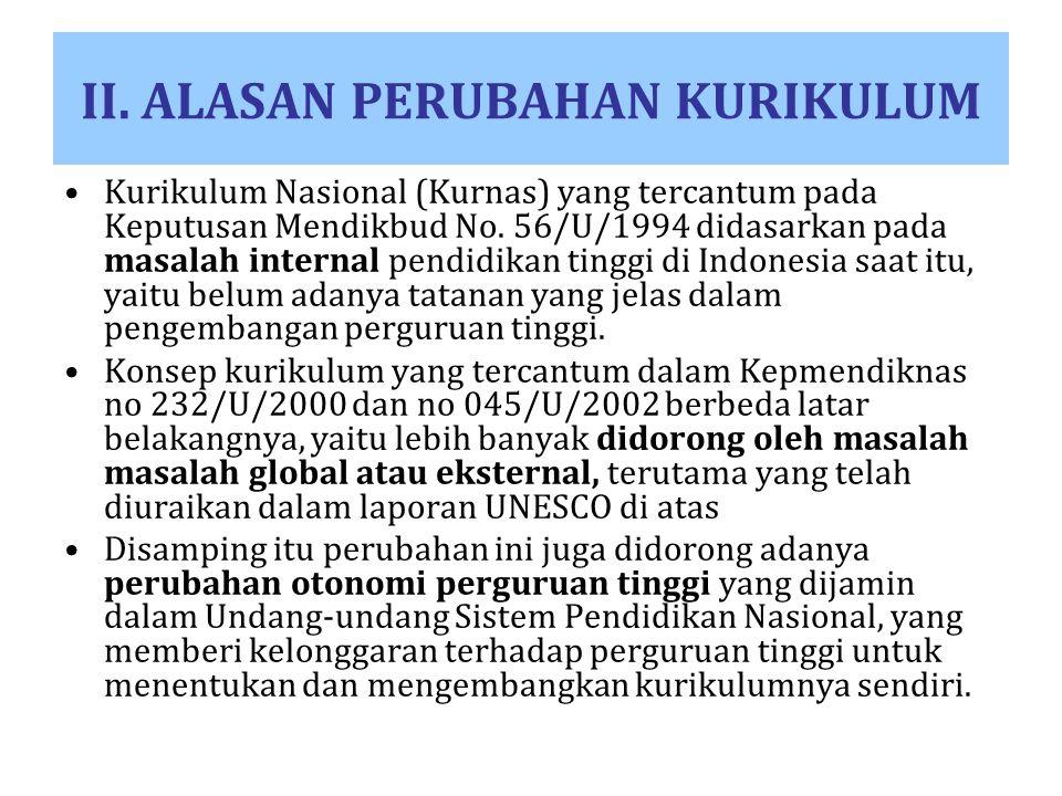 II. ALASAN PERUBAHAN KURIKULUM Kurikulum Nasional (Kurnas) yang tercantum pada Keputusan Mendikbud No. 56/U/1994 didasarkan pada masalah internal pend