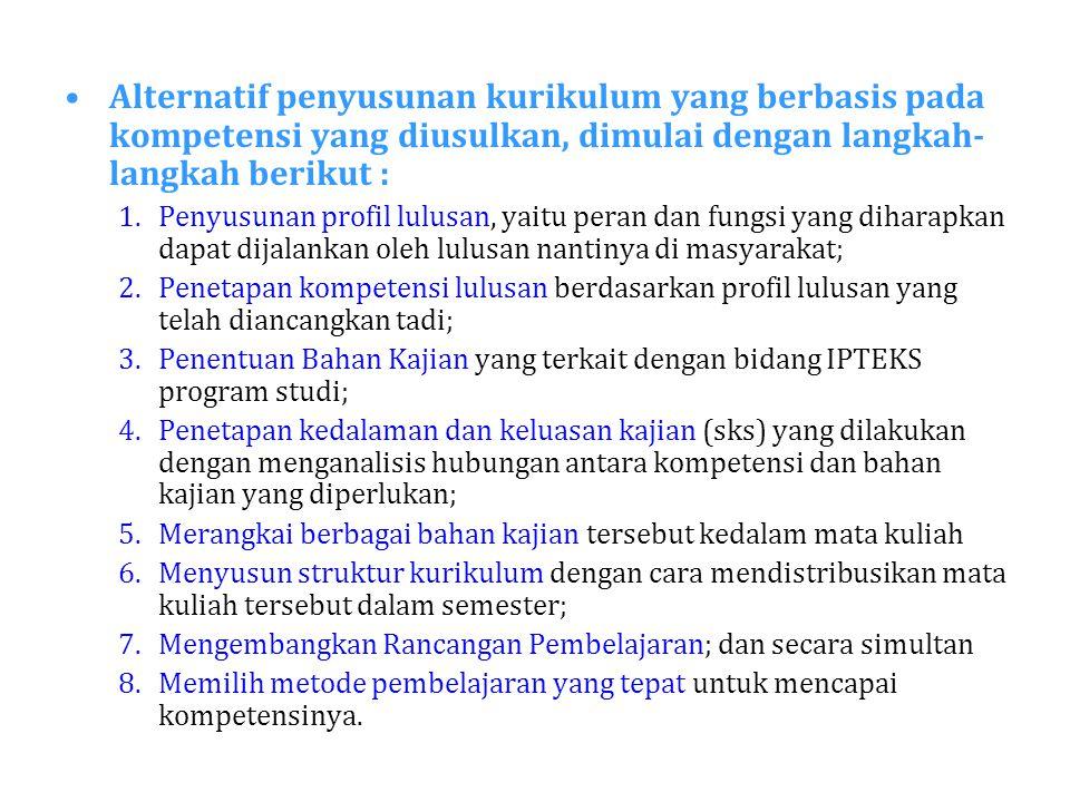 Alternatif penyusunan kurikulum yang berbasis pada kompetensi yang diusulkan, dimulai dengan langkah- langkah berikut : 1.Penyusunan profil lulusan, y