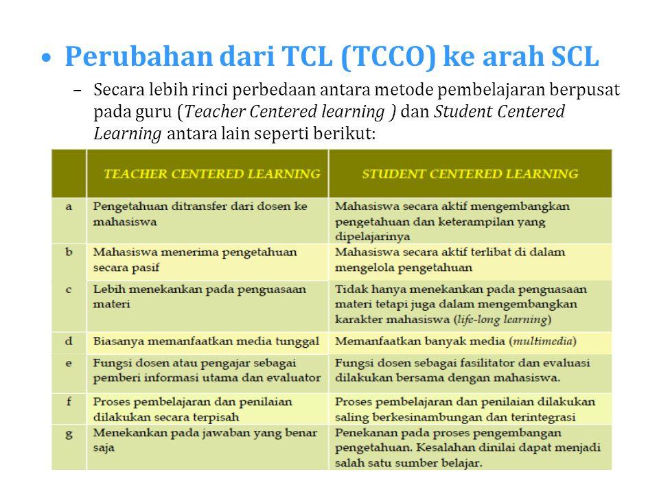 Perubahan dari TCL (TCCO) ke arah SCL –Secara lebih rinci perbedaan antara metode pembelajaran berpusat pada guru (Teacher Centered learning ) dan Stu