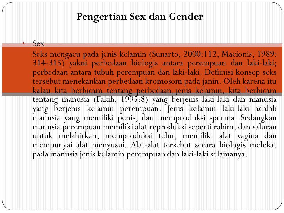 Sex Seks mengacu pada jenis kelamin (Sunarto, 2000:112, Macionis, 1989: 314-315) yakni perbedaan biologis antara perempuan dan laki-laki; perbedaan an