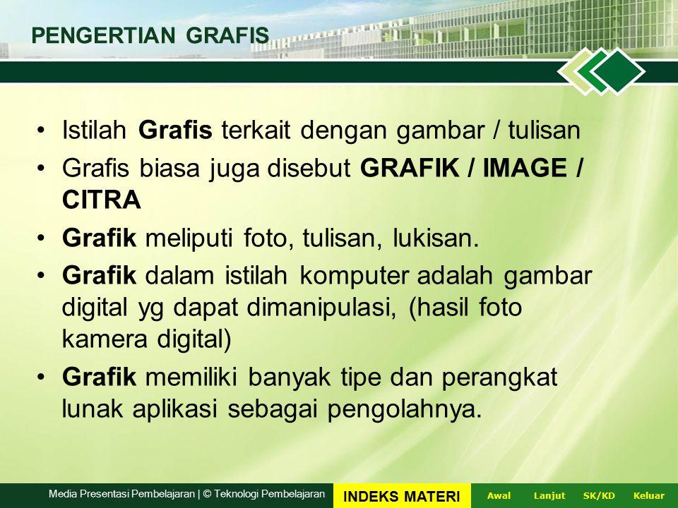 Istilah Grafis terkait dengan gambar / tulisan Grafis biasa juga disebut GRAFIK / IMAGE / CITRA Grafik meliputi foto, tulisan, lukisan.