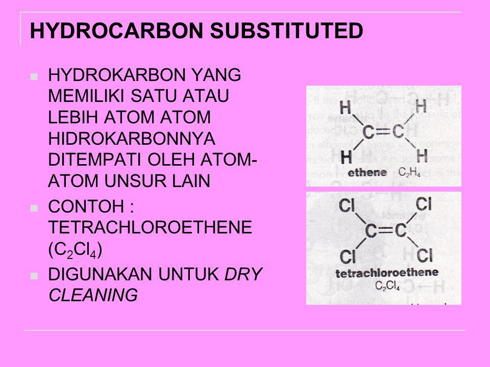 HYDROCARBON SUBSTITUTED HYDROKARBON YANG MEMILIKI SATU ATAU LEBIH ATOM ATOM HIDROKARBONNYA DITEMPATI OLEH ATOM- ATOM UNSUR LAIN CONTOH : TETRACHLOROETHENE (C 2 Cl 4 ) DIGUNAKAN UNTUK DRY CLEANING