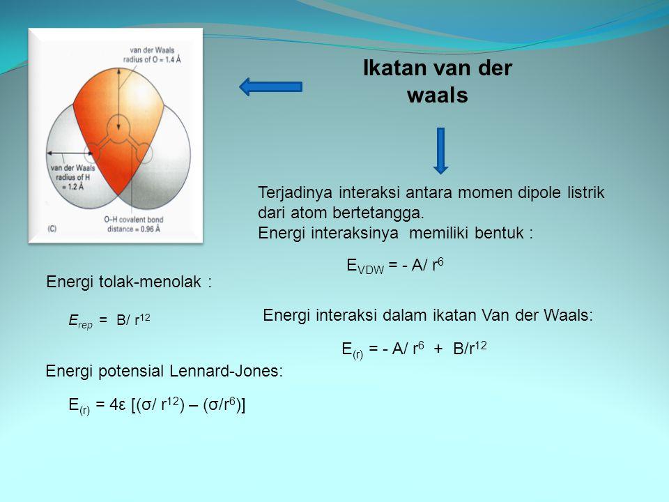 Contoh soal: Bagaimanakah pengaruhnya pada energi-kohesif kristal ionik dan kovalen dari; (a).gaya van der waals, dan (b)osilasi titik-titik dari ion dan atom disekitar titik kesetimbangannya Jawaban : (a).