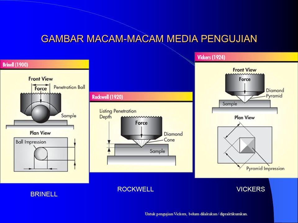 GAMBAR MACAM-MACAM MEDIA PENGUJIAN BRINELL ROCKWELLVICKERS Untuk pengujian Vickers, belum dilakukan / dipraktikumkan.