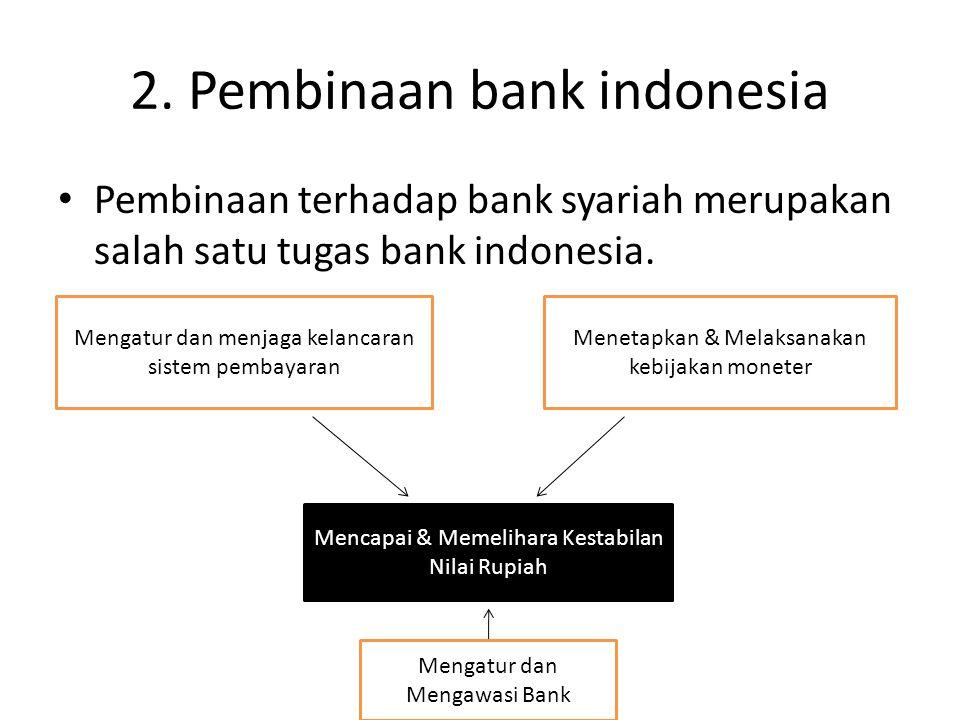 2. Pembinaan bank indonesia Pembinaan terhadap bank syariah merupakan salah satu tugas bank indonesia. Mengatur dan menjaga kelancaran sistem pembayar