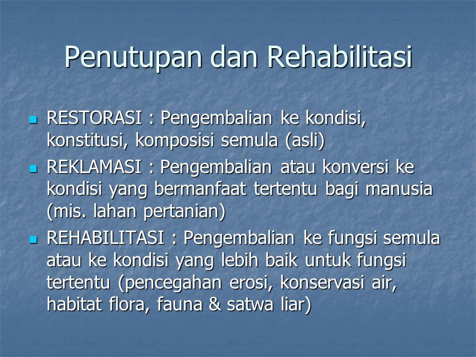 Penutupan dan Rehabilitasi RESTORASI : Pengembalian ke kondisi, konstitusi, komposisi semula (asli) RESTORASI : Pengembalian ke kondisi, konstitusi, k