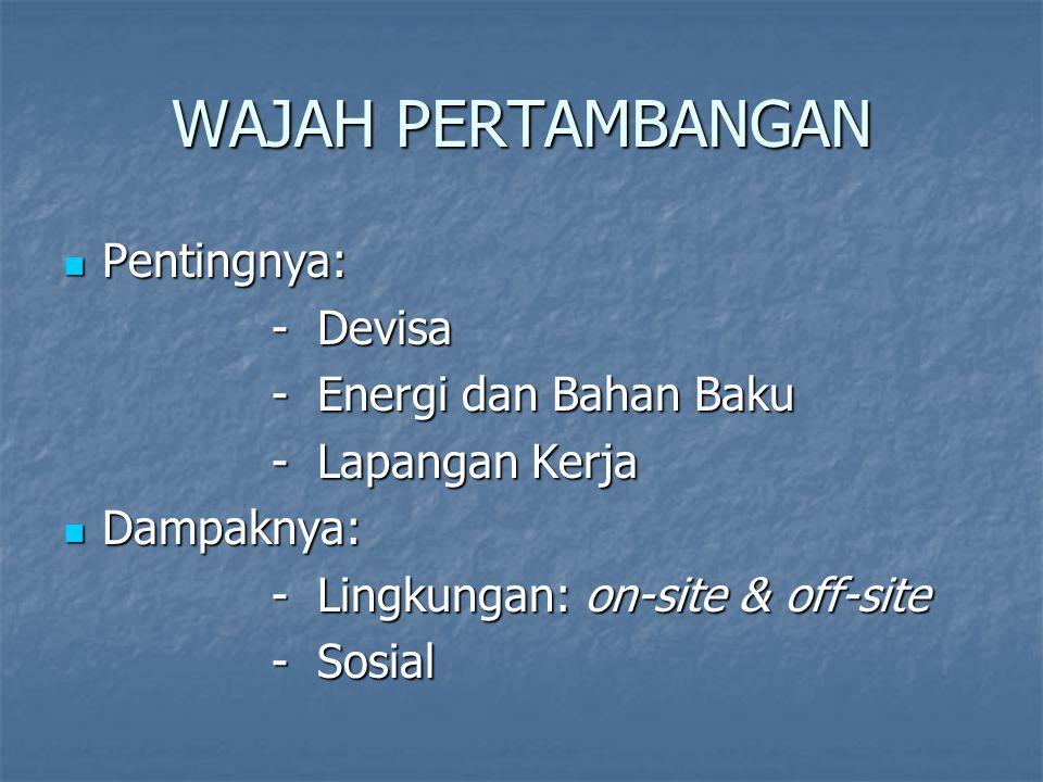 Pertambangan di Indonesia Bijih (ore),batubara, non-logam & konstruksi Bijih (ore),batubara, non-logam & konstruksi Minyak bumi dan gas alam Minyak bumi dan gas alam Perusahaan aktif: 96 (1995) 186 (2005) Perusahaan aktif: 96 (1995) 186 (2005) Luas konsesi: 1,336 juta ha (0,7% daratan) 1995 Luas konsesi: 1,336 juta ha (0,7% daratan) 1995 Luas lahan yang dibuka: Luas lahan yang dibuka: 1995: 36743 ha (0.019% luas daratan) 2005: 57704 ha (0.029% luas daratan) Luas lahan yang sudah direklamasi: Luas lahan yang sudah direklamasi: 1995: 5577 ha (27% dari yang dibuka) 2005: 20827 ha (36% dari yang dibuka) Dampak lingkungan dan dampak sosial semakin menonjol & terekspos Dampak lingkungan dan dampak sosial semakin menonjol & terekspos