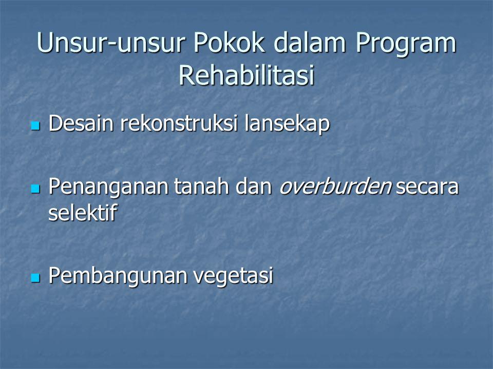 Unsur-unsur Pokok dalam Program Rehabilitasi Desain rekonstruksi lansekap Desain rekonstruksi lansekap Penanganan tanah dan overburden secara selektif