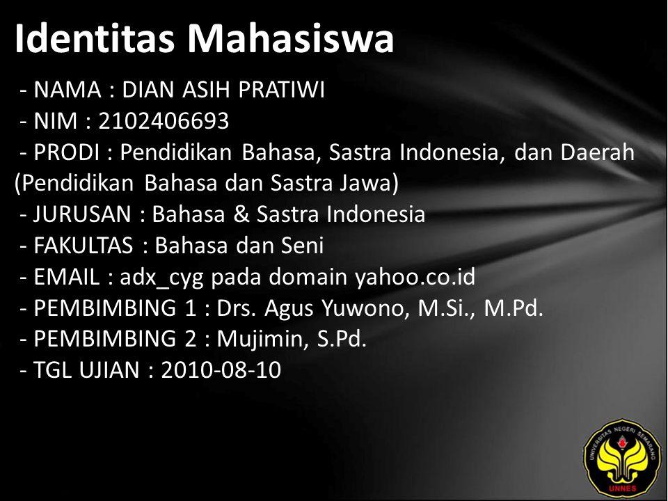 Identitas Mahasiswa - NAMA : DIAN ASIH PRATIWI - NIM : 2102406693 - PRODI : Pendidikan Bahasa, Sastra Indonesia, dan Daerah (Pendidikan Bahasa dan Sas