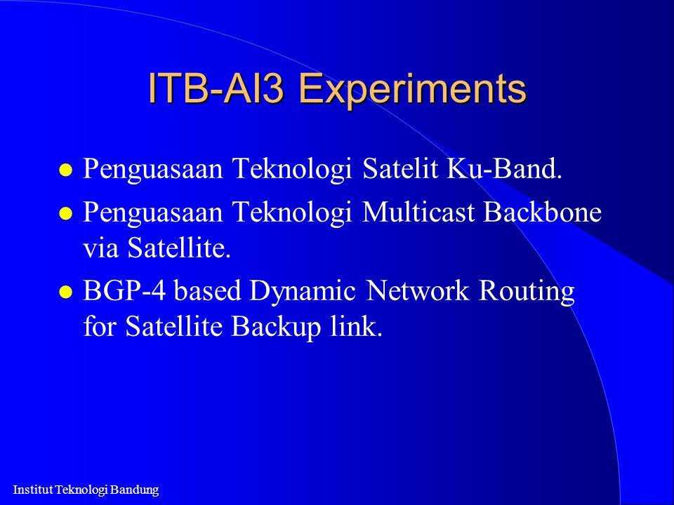Institut Teknologi Bandung ITB-AI3 Experiments l Penguasaan Teknologi Satelit Ku-Band. l Penguasaan Teknologi Multicast Backbone via Satellite. l BGP-