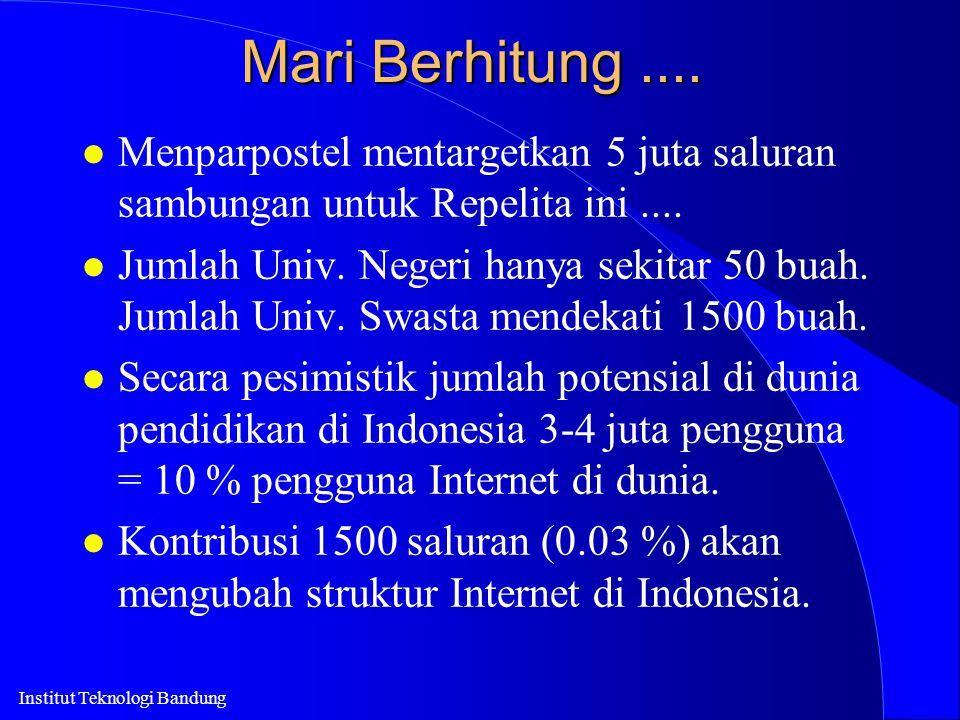 Institut Teknologi Bandung Mari Berhitung.... l Menparpostel mentargetkan 5 juta saluran sambungan untuk Repelita ini.... l Jumlah Univ. Negeri hanya